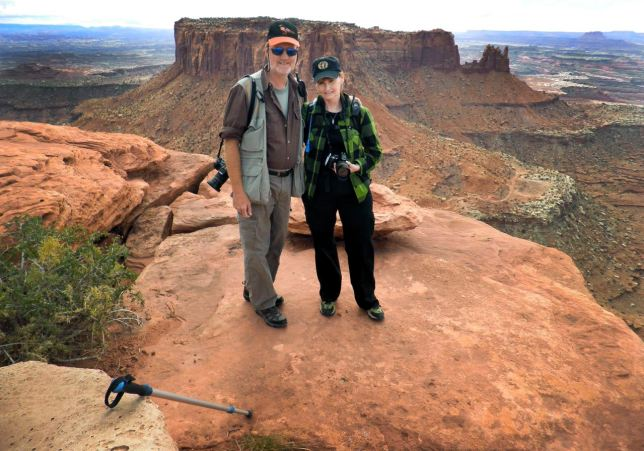 Abby and I pose at the end of the beautiful Grand View Point trail at Canyonlands National Park in October 2010.