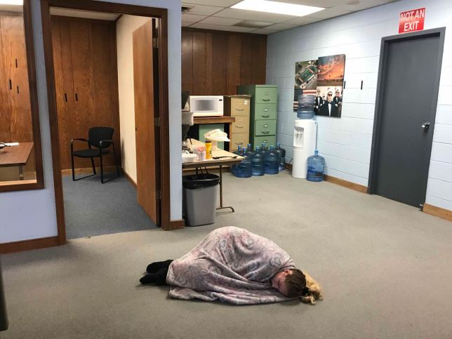 Ashlynd told us she could sleep anywhere, then proved it by sleeping on the floor in the newsroom during her lunch break. Once when she was asleep, when we heard a scanner dispatch about an injury accident, and she was up and in action within a few seconds.