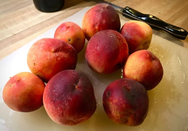 More than once I have entertained the idea of being an orchardist. These are my own peaches, picked just this week.
