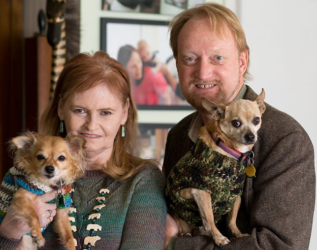 Abby and Richard pose with their Chihuahuas, Sierra and Max, January 2016. Sierra passed away in March 2018.