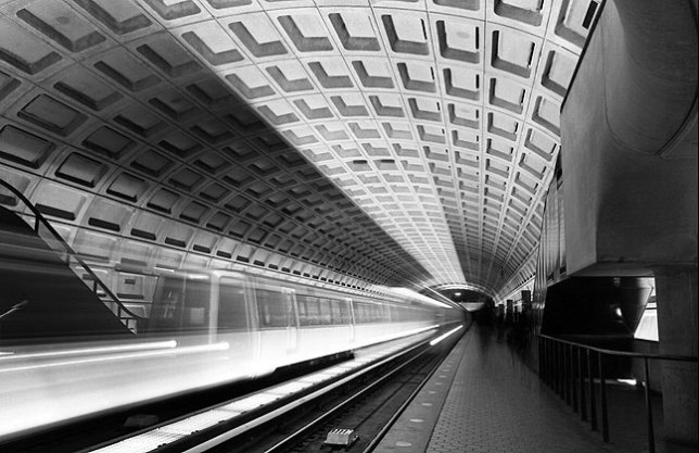Thirty-second timed exposure, Georgetown Metro station, Washington, D. C. area.