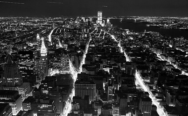 Wide view at night of lower Manhattan, New York.
