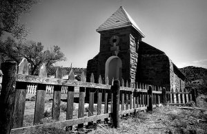 The Church in Cuervo, New Mexico appears to be the only routinely-maintained structure in the town.