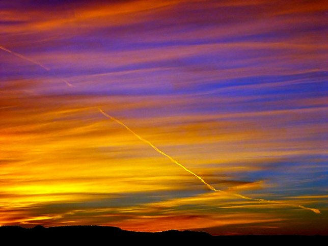 Colors blend in the western sky minutes after sunset.