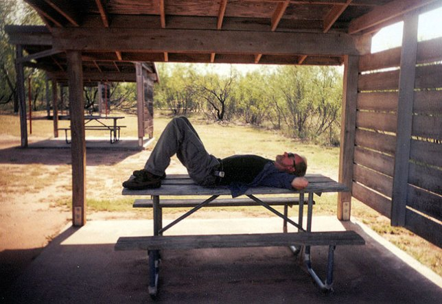 Margaret made this image of me resting after a long hike.