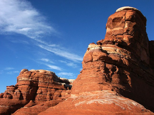 This Cedar Mesa sandstone formation stands above the Squaw Flat Campground in the Needles District. of Canyonlands National Park.
