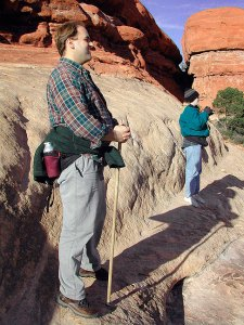 David and Jamie look over the trail near the Squaw Flat campground at Canyonlands.
