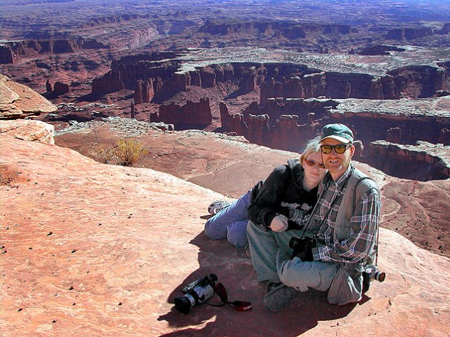 Jamie and I pose at the edge of a cliff at Canyonland's Island in the Sky district.