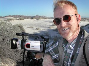 Your host makes video of the gypsum dunes at Guadalupe Mountains National Park.