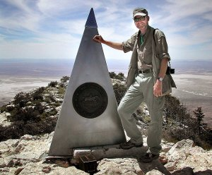 The author poses at the top of Guadalupe Peak.