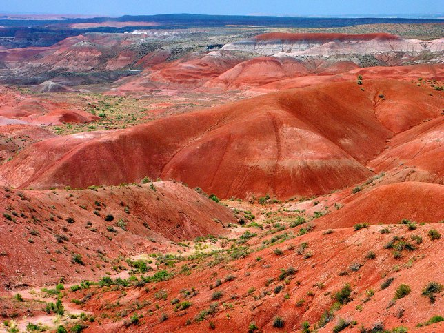 The colors of the Painted Desert were muted by smoke from wildfires to the south, and dust from a fierce south wind.