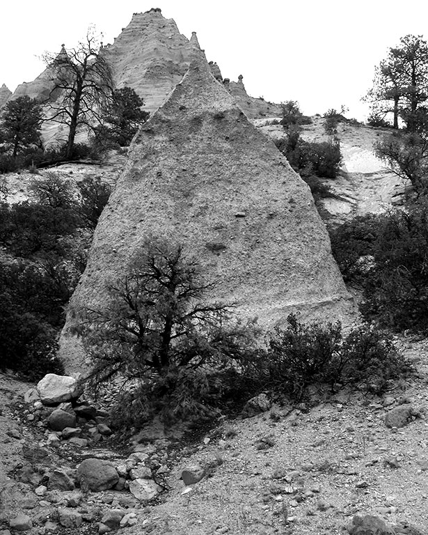 With flat light, we made some Tent Rocks images in black-and-white.