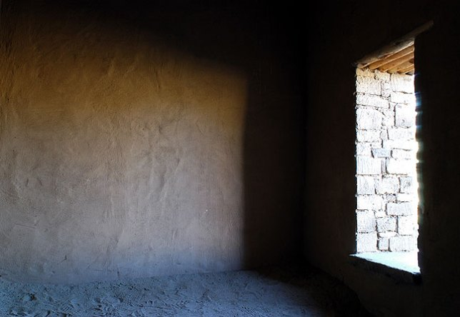 Window in the great kiva, Aztec Ruins