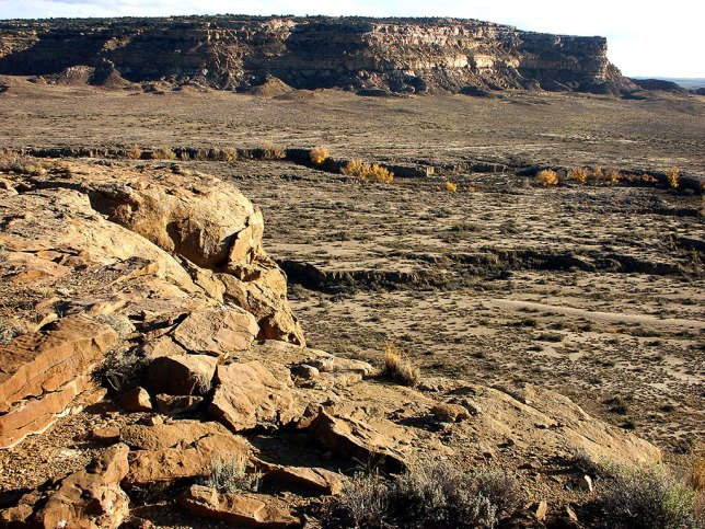 This view shows Chacra Mesa and Gallo Wash from Chaco Canyon Overlook trail.
