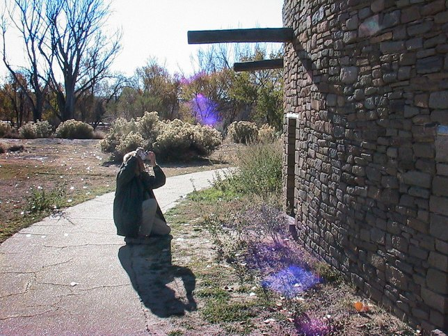 The author makes pictures at Aztec Ruins National Monument on a very cold afternoon.