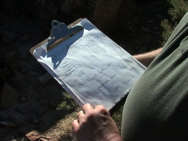 David found this clipboard at Wijiji, which we believed was a Park Service map of the rooms of the Great House. We put it back where we found it.