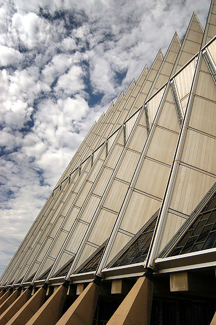 Another view of the exterior of the Air Force Academy Chapel shows its edgy appearance against the sky.