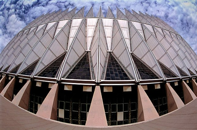 This is a fisheye view of the exterior of the Air Force Academy Chapel at Colorado Springs.