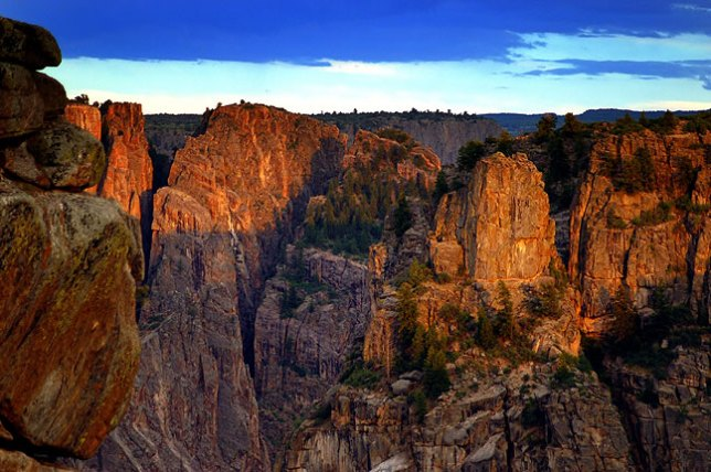 This view looks west across Black Canyon at sunrise.
