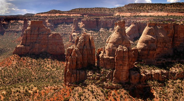 This medium view from Book Cliffs View shows the majestic monuments at Colorado National Monument.
