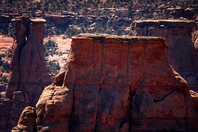 A tighter frame shows one of the monuments of Colorado National Monument in repose. I would have explored more of the area but was turned away by oppressive heat.