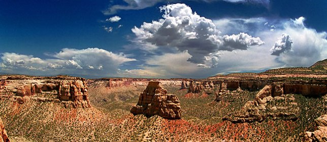 Panorama of Monument Canyon with Independence Monument in the center.