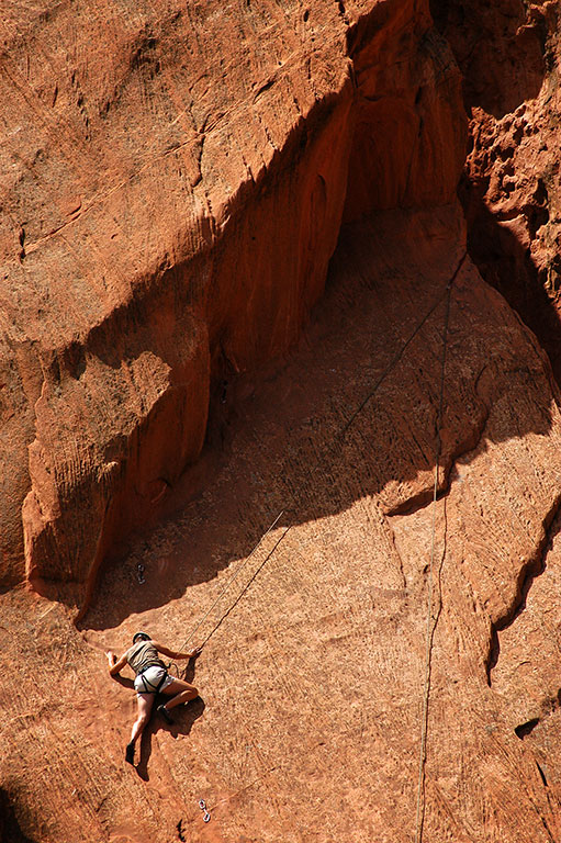 In addition to paved trails and easy walking, I was surprised to see rock climbers at Garden of the Gods.