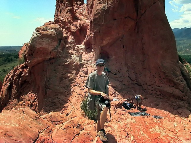 I asked a fellow tourist to make a picture of me near some rock climbers at Garden of the Gods.