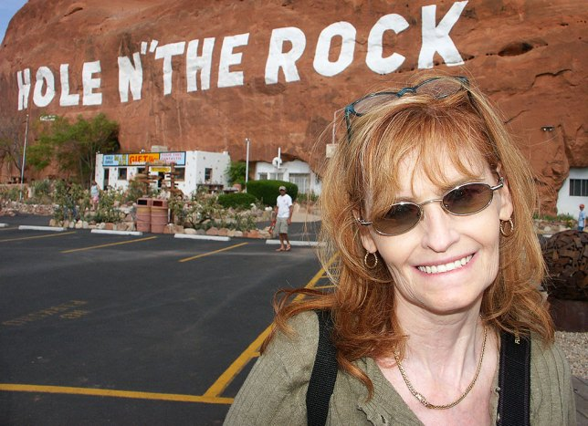 Abby smiles at Hole 'N the Rock, a tourist stop south of Moab, Utah.