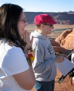 Chele and Nicole conduct our Delicate Arch ceremony.