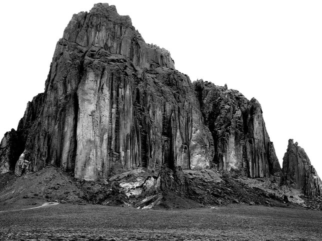 In the dense morning grey, Shiprock takes on a deep, brooding appearance.