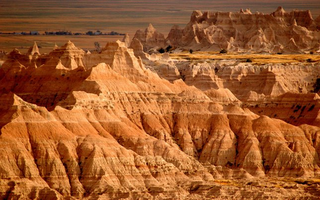 The formations of Badlands take on more color as sunset approaches.