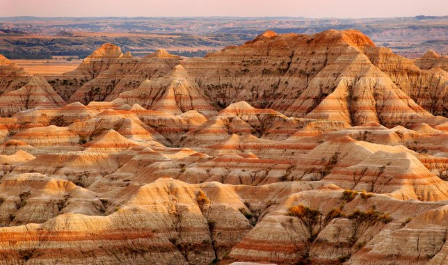 Badlands National Park strata picks up intense evening light