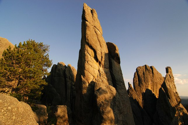 Colors deepen as dusk approaches on the Needles Highway in Custer State Park.
