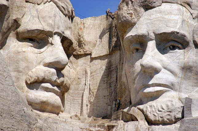 Worker with Power Washer, Mount Rushmore National Memorial, South Dakota