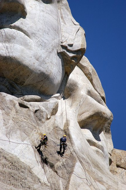 Workers with Power Washers, Mount Rushmore National Memorial, South Dakota