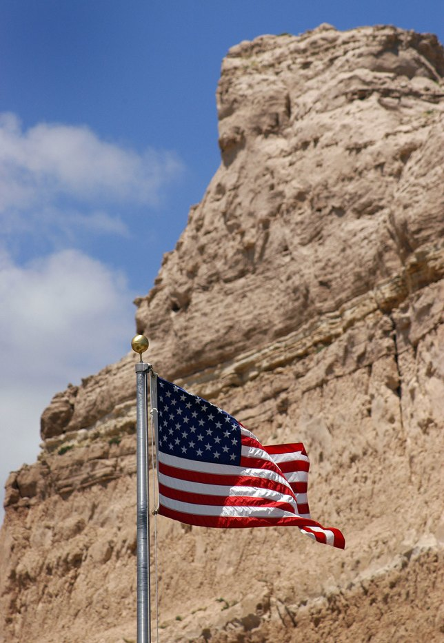 A U.S. Flags waves in the breeze at Scott's Bluff National Monument.