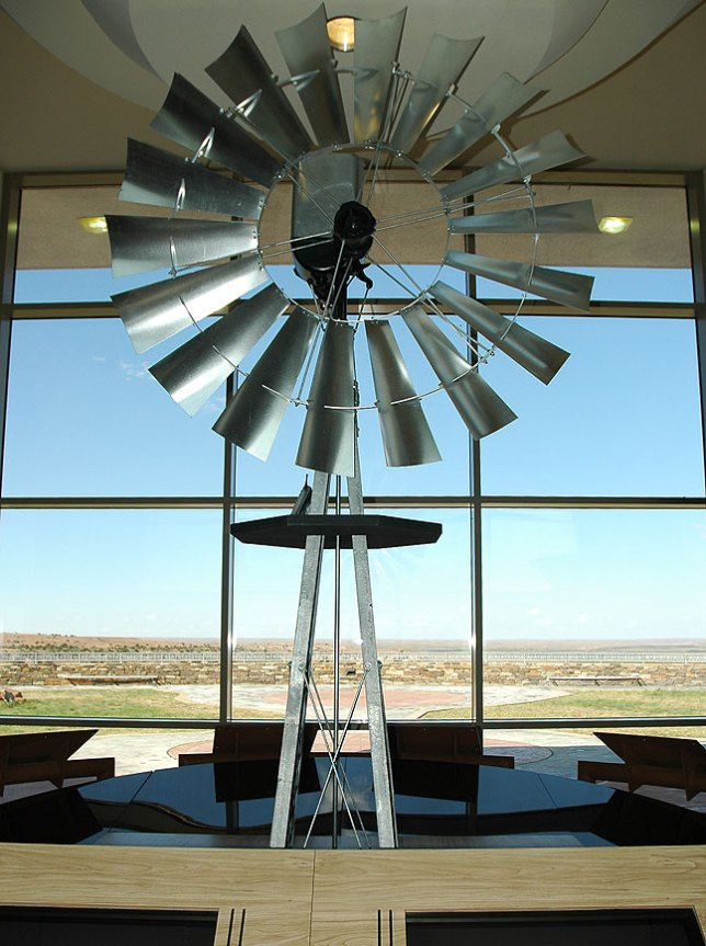 "Abby photographed this windmill in the lobby at ""our"" Texas rest stop."