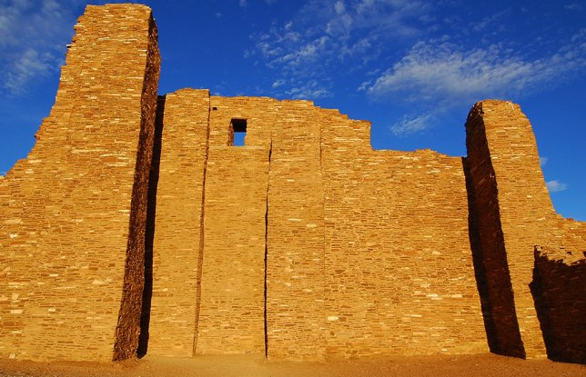 This broad view of the Abó Ruin shows the handsome lines of this architecture in maturing afternoon light.