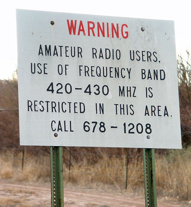 The first image on my trip to the Trinity Site was this obviously very old (considering the phone number doesn't have an area code) warning sign for radio amateurs like me.