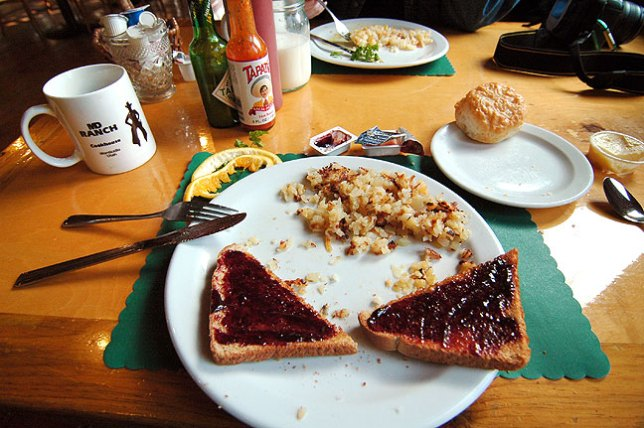 Monticello, Utah, has few restaurants, so MD Ranch Cookhouse became our favorite for dinner, lunch, and, as in this image, breakfast. We were fortunate to find a place we liked so much in such a small town.