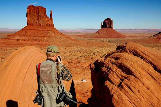 Your host photographs The Mittens, the signature formations at the overlook at Monument Valley.