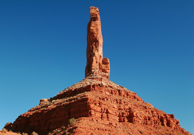 This hoodoo standing atop a talus slope is one of the most prominent features of Valley of the Gods.