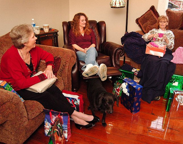 No stress or disaster or bad news could stop Christmas morning for Mom, Nicole, and Abby.