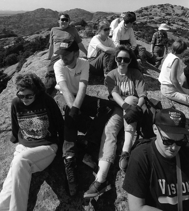 This is from the October 1993 hike. I am section from the left in my white Misal of India t-shirt and grey Leica Pro hat.