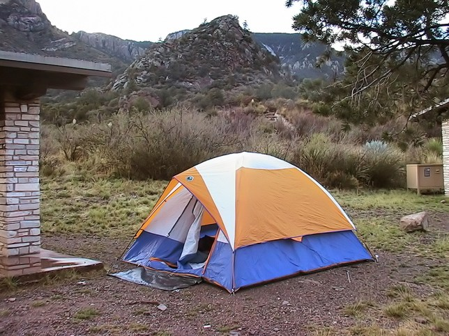 This is our camp site after a night of rain. We stayed dry thanks to pitching on a gravel slope.