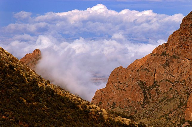 Clouds below Chisos mountains, morning, Lost Mine trail, Big Bend National Park