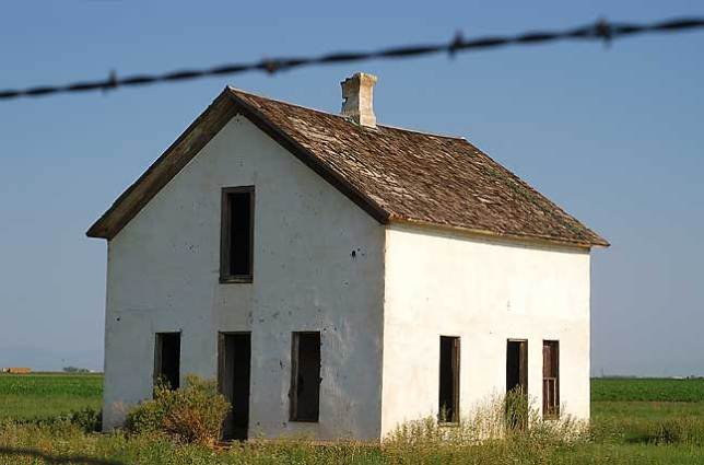 Abandoned House and Barbed Wire, San Luis Valley, Colorado.