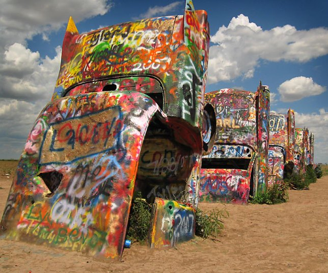 Stanley Marsh's Cadillac Ranch, Amarillo, Texas.