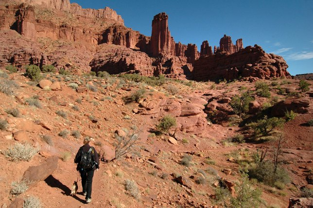 Abby and Sierra grind their way along the early parts of the Fisher Towers trail.